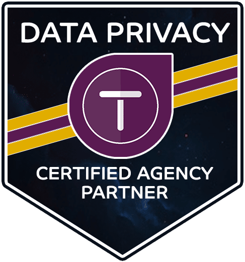 Data privacy certified agency partner text on a shield with outspace background and Termageddon logo in foreground
