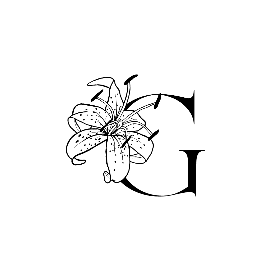 White lily drawn on top of the left side of a capital G