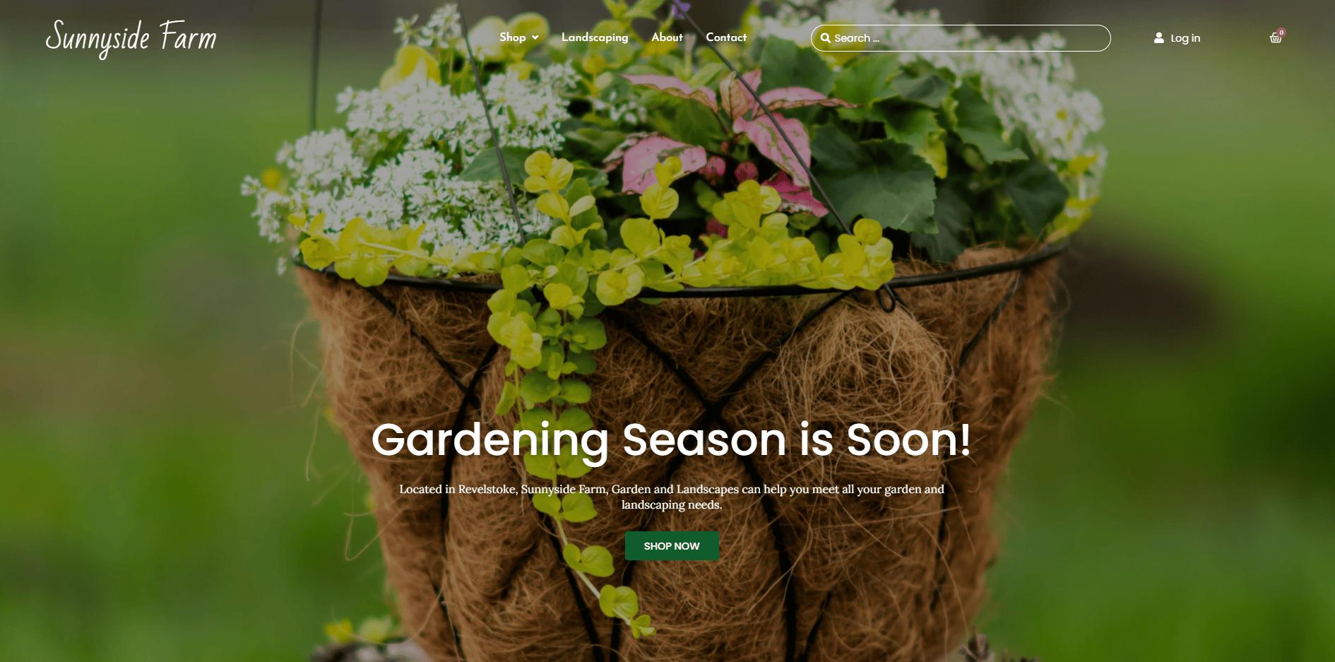 Screenshot of the Sunnyside Farm Website